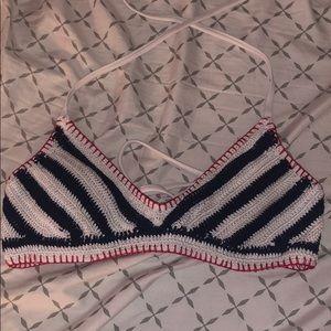 Red white and blue bikini top